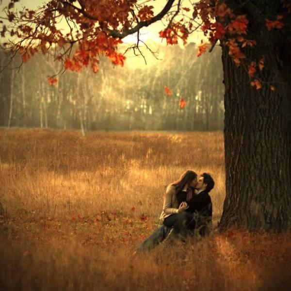 Парень и девушка целуются под деревом