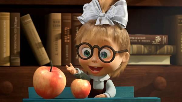 Маша считает яблоки маша и медведь